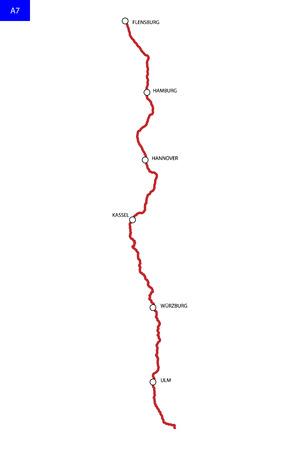 German highway route A7. Bundesautobahn 7. Road map of Germany 写真素材 - 125226929
