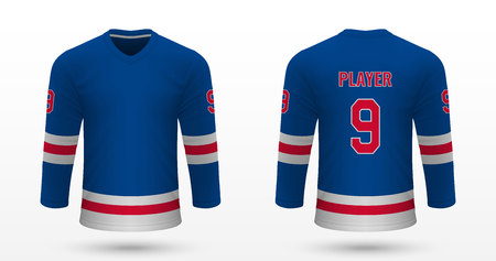 Realistic sport shirt New York Rangers, jersey template for ice hockey kit. Vector illustration 版權商用圖片 - 125226944