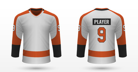 Realistic sport shirt Philadelphia Flyers, jersey template for ice hockey kit. Vector illustration