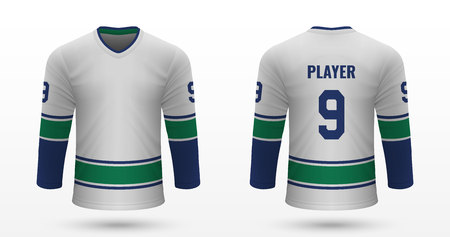 Realistic sport shirt Vancouver Canucks, jersey template for ice hockey kit. Vector illustration
