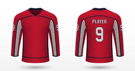 Realistic sport shirt Washington Capitals, jersey template for ice hockey kit. Vector illustration Ilustração