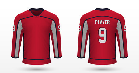 Realistic sport shirt Washington Capitals, jersey template for ice hockey kit. Vector illustration Illustration