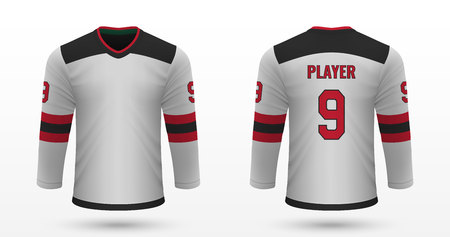 Realistic sport shirt New Jersey Devils, jersey template for ice hockey kit. Vector illustration Ilustração
