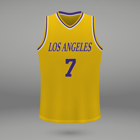 Realistic sport shirt Los Angeles Lakers, jersey template for basketball kit. Vector illustration 矢量图像