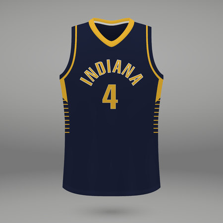 Realistic sport shirt Indiana Pacers, jersey template for basketball kit. Vector illustration