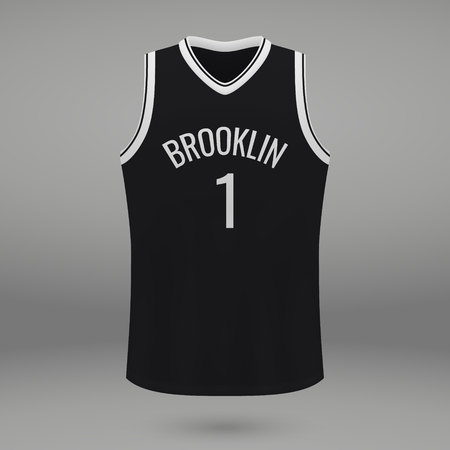 Realistic sport shirt Brooklyn Nets, jersey template for basketball kit. Vector illustration