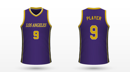 Realistic sport shirt Los Angeles Lakers, jersey template for basketball kit. Vector illustration 向量圖像