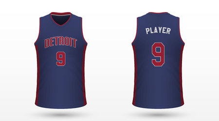 Realistic sport shirt Detroit Pistons, jersey template for basketball kit. Vector illustration