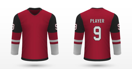 Realistic sport shirt Arizona Coyotes, jersey template for ice hockey kit. Vector illustration Illustration