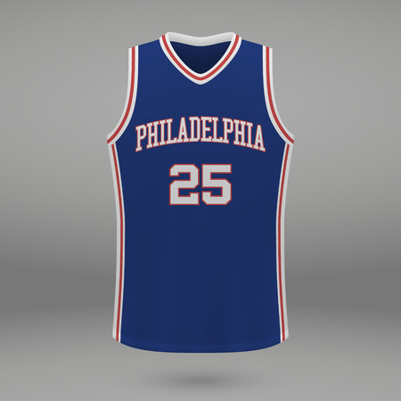 Realistic sport shirt Philadelphia 76ers, jersey template for basketball kit. Vector illustration