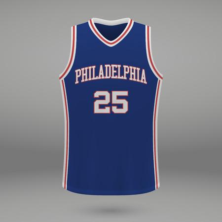 Realistic sport shirt Philadelphia 76ers, jersey template for basketball kit. Vector illustration
