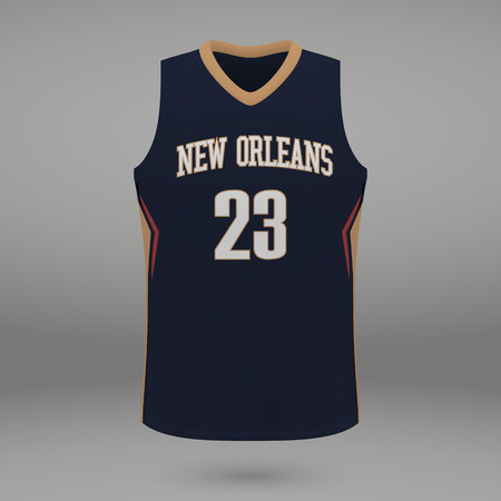 Realistic sport shirt New Orleans Pelicans, jersey template for basketball kit. Vector illustration