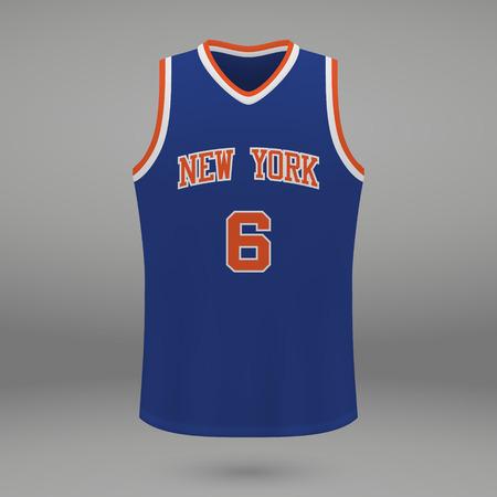 Realistic sport shirt New York Knicks, jersey template for basketball kit. Vector illustration