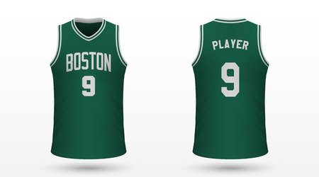 Realistic sport shirt Boston Celtics, jersey template for basketball kit. Vector illustration  イラスト・ベクター素材
