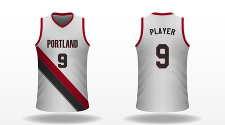 Realistic sport shirt, jersey template for basketball kit. Vector illustration