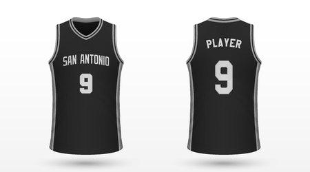 Realistisches Sporthemd San Antonio Spurs, Trikotvorlage für Basketball-Trikot. Vektor-Illustration