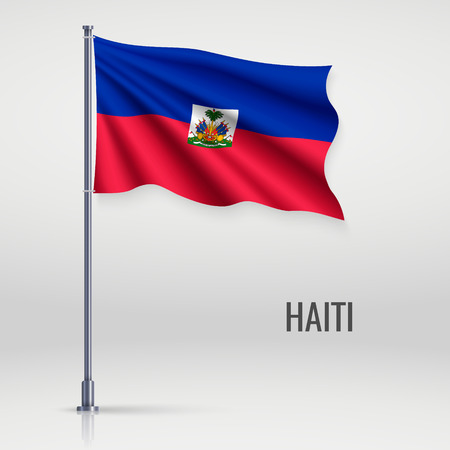 Waving flag of Haiti on flagpole. Template for independence day poster design Foto de archivo - 118432229