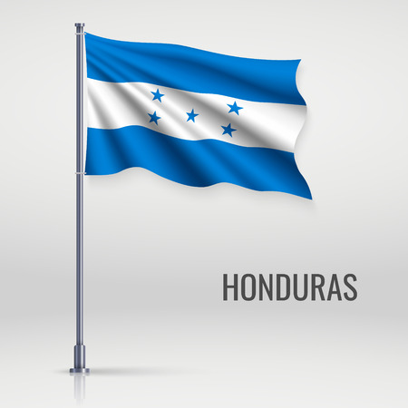 Waving flag of Honduras on flagpole. Template for independence day poster design