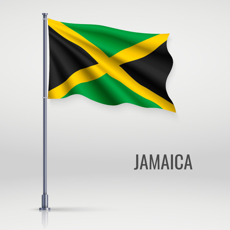 Waving flag of Jamaica on flagpole. Template for independence day poster design