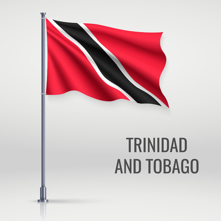 Waving flag of Trinidad and Tobago on flagpole. Template for independence day poster design
