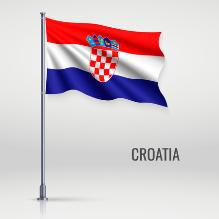 Waving flag of Croatia on flagpole. Template for independence day poster design