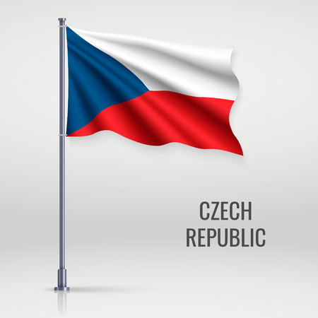 Waving flag of Czech Republic on flagpole. Template for independence day poster design
