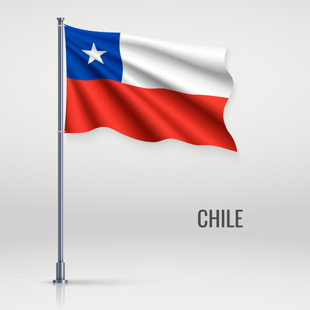 Waving flag of Chile on flagpole. Template for independence day poster design