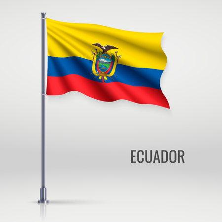 Waving flag of Ecuador on flagpole. Template for independence day poster design