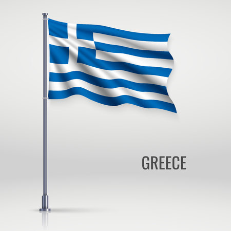 Waving flag of Greece on flagpole. Template for independence day poster design