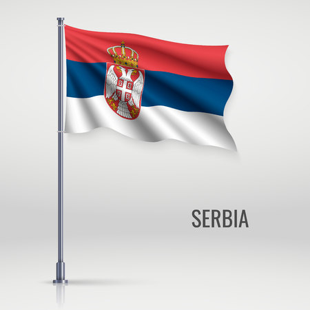 Waving flag of Serbia on flagpole. Template for independence day poster design