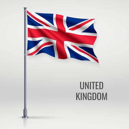 Waving flag of United KIngdom on flagpole. Template for independence day poster design