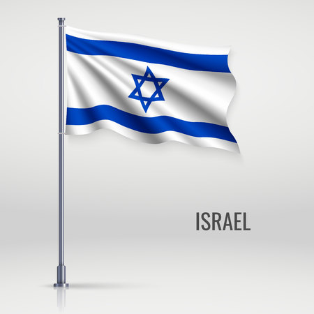 Waving flag of Israel on flagpole. Template for independence day poster design