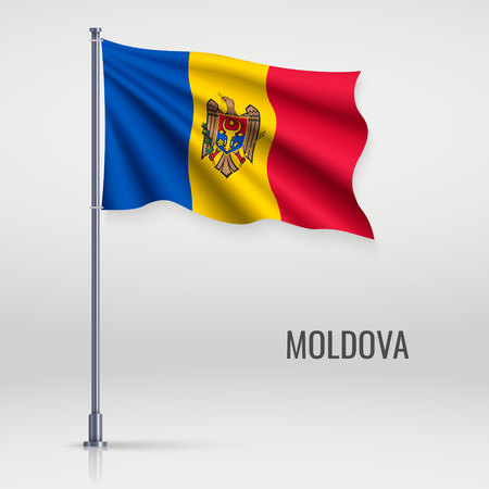 Waving flag of Moldova on flagpole. Template for independence day poster design