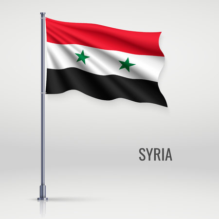 Waving flag of Syria on flagpole. Template for independence day poster design