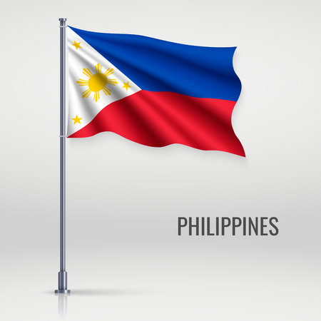 Waving flag of Philippines on flagpole. Template for independence day poster design