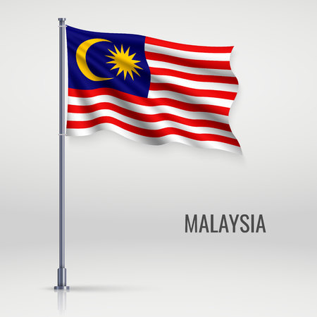 Waving flag of Malaysia on flagpole. Template for independence day poster design Vetores