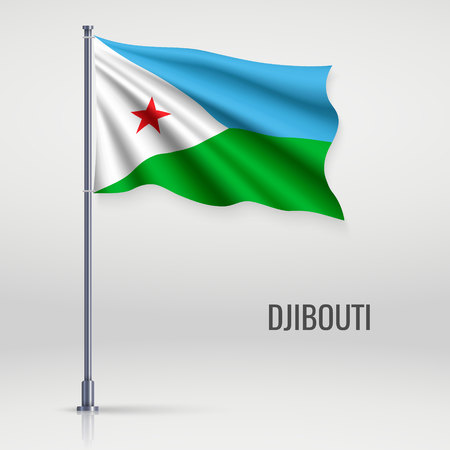 Waving flag of Djibouti on flagpole. Template for independence day poster design Vettoriali