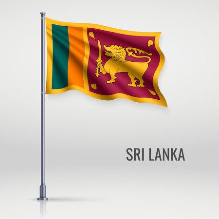 Waving flag of Sri Lanka on flagpole. Template for independence day poster design Vector Illustration