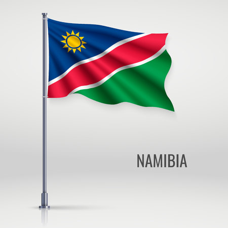 Waving flag of Namibia on flagpole. Template for independence day poster design