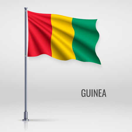Waving flag of Guinea on flagpole. Template for independence day poster design