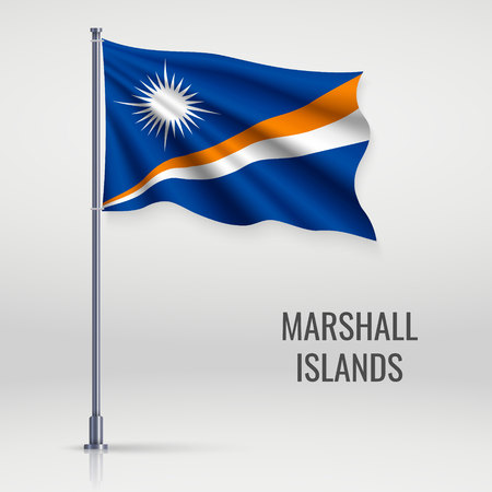 Waving flag of Marshall Islands on flagpole. Template for independence day poster design
