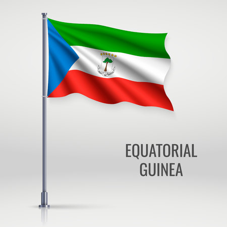 Waving flag of Equatorial Guinea on flagpole. Template for independence day poster design