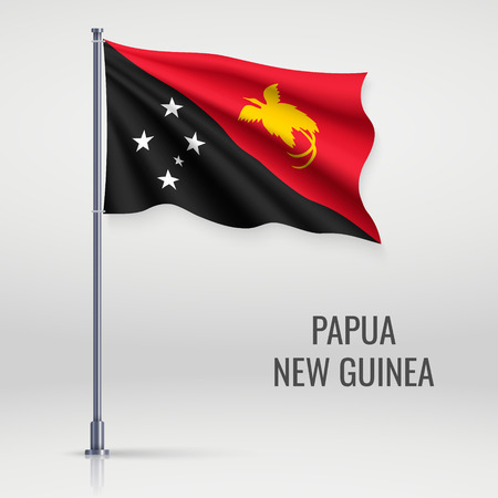 Waving flag of Papua New Guinea on flagpole. Template for independence day poster design Banque d'images - 125051094