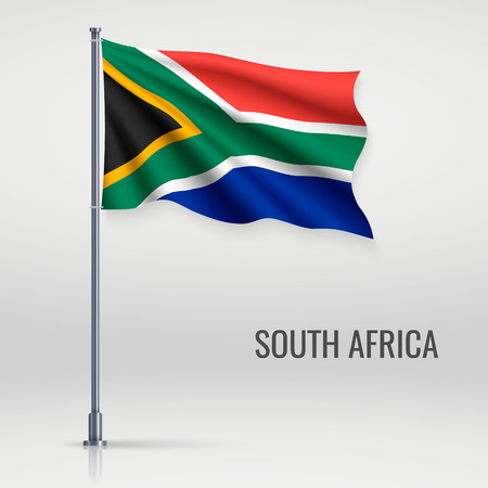 Waving flag of South Africa on flagpole. Template for independence day poster design