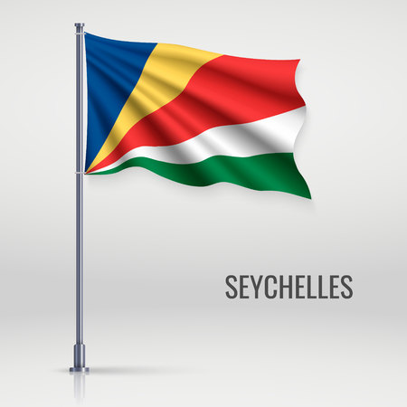 Waving flag of Seychelles on flagpole. Template for independence day poster design