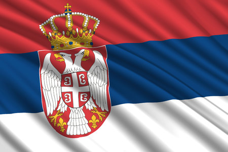 waving flag of Serbia. Vector illustration