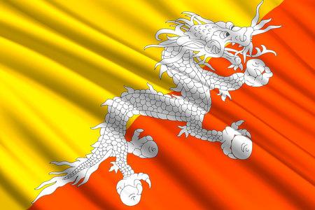 waving flag of Bhutan. Vector illustration