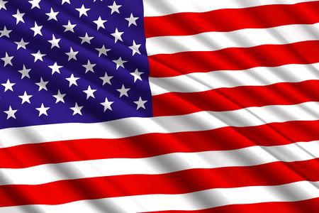 waving flag of United States of America. Vector illustration