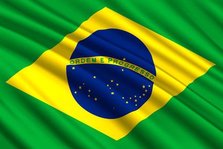 waving flag of Brazil. Vector illustration Illustration