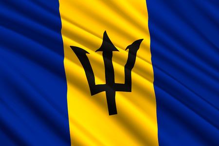 brandissant le drapeau de la Barbade. Illustration vectorielle